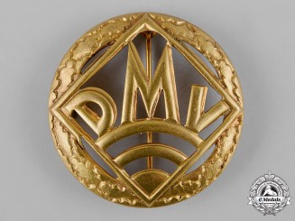 Germany, DMV. A German Motorsports Association (DMV) Golden Merit Badge