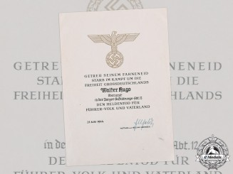 Germany, Heer. A Hero's Death Certificate to Oberarzt Walter Hugo, Panzer-Aufklärungs-Abteilung 12, Eastern Front KIA