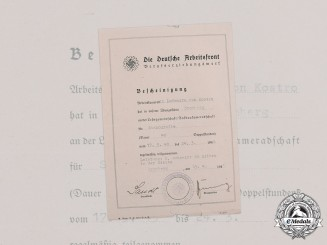 Germany, DAF. A German Labour Front Career Service Document to Ludomira von Kostro