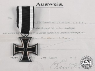 Germany, Imperial. A 1914 Iron Cross II Class by H.R. Wilm, with Award Document to Unteroffizier Friedrich Held