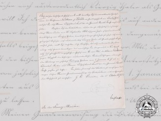 Prussia, Kingdom. A Captain's Widow's Pension Provisions Letter Signed by King Wilhelm I, 1870