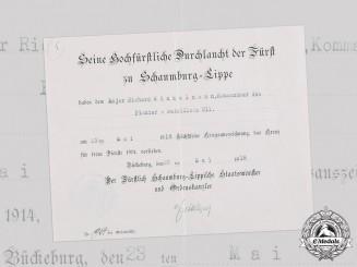 Germany, Imperial. A Schaumburg-Lippe 1914 Cross for War Merit Document to Major Winkelmann