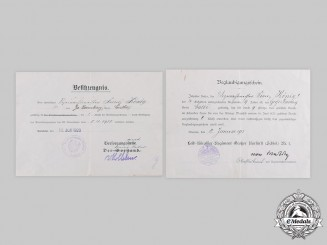Germany, Imperial. Two Long Service Award Certificates to Vizewachtmeister Franz König