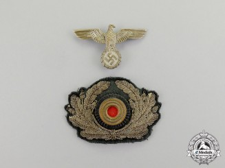 Germany. An Early Wehrmacht Heer (Army) Set of Officer's Visor Cap Insignia, c. 1934