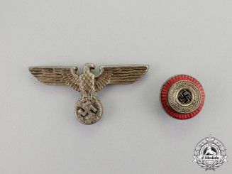 Germany. An Early Politcal/SA Set of Visor Cap Insignia