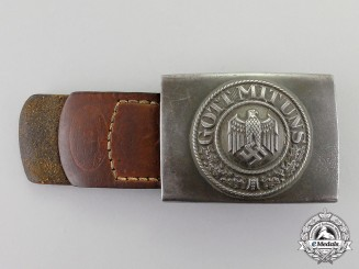 Germany. A Dated 1940 Wehrmacht Heer (Army) Belt Buckle and Leather Tab by Schneider