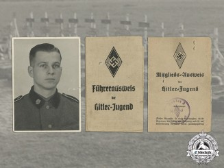 Germany. Two HJ ID Cards & Eight Photos of HJ leader/ SS Totenkopf Member Walter Zeisig