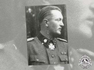 Germany. A Post War Signed Photograph of SS-Oberführer Karl Ullrich, Wiking Division (KC w/Oak Leaves)