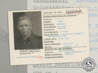 Germany. A Post War HIAG Missing Person Report for SS Radio Operator at Budapest