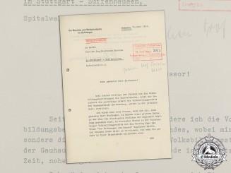 Germany. A Wartime Letter from Sudetengau Leader Henlein to Ferdinand Porsche