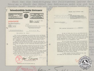 Germany. Two 1939 Letters Requesting the Blood Order for District Educational Leader Hans Pfliegner