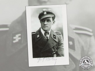 "Germany. A Post War Signed Photo of KC winner Gerhard Fischer, SS Division ""Wiking"""