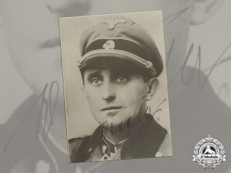 Germany. A Post War Signed Photo of SS-Obersturmbannführer Max Seela (KC, Totenkopf Division)