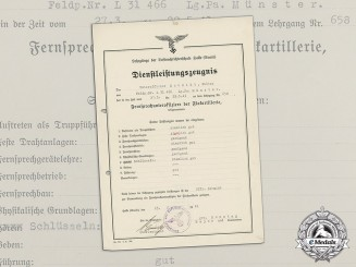 An Anti-Aircraft Teletype NCO Training Course Certificate to Walter Schmidt