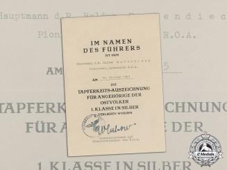 Germany, Heer. A I Class Ostvolk in Silver Award Document to R.O.A. Captain Baldur Badendieck