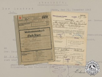 Documents and Army Service Records of HJ Member & Army Grenadier Kurt Gehlken