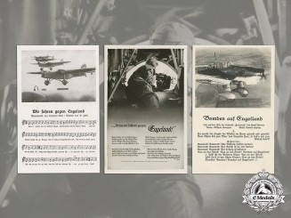 Germany. Three Anti-England Luftwaffe Propaganda Postcards