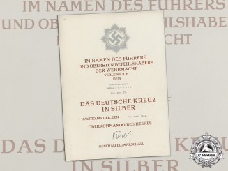 A German Cross in Silver Award Document to Oberstleutnant Ludwig Fischer