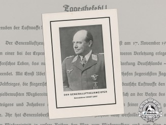 A 1941 Luftwaffe Day-Order on Occasion of the Death of First War Ace Ernst Udet