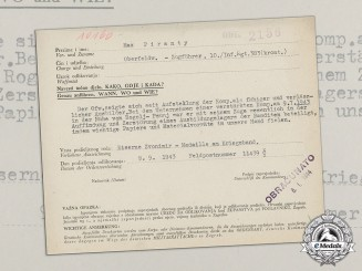 Croatia. An Iron Zvonimir Medal Award Document to Oberfeldwebel Max Piranty