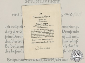 Germany. A Promotion Document With Original Signature by von Brauchitsch
