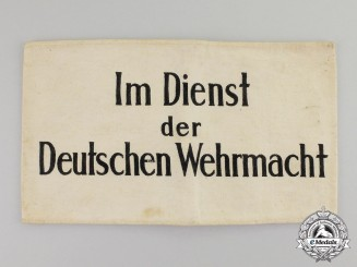 "Germany. A Third Reich Period ""In the Service of the Wehrmacht"" Civilian Aid Armband"