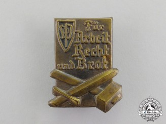"Germany. A Sudeten Party ""For Labour, Justice, and Bread"" Election Badge"