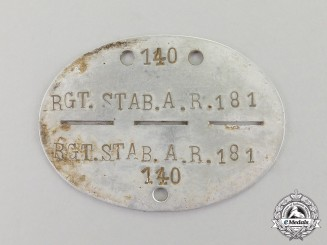 Germany. A Regimental Staff Artillery Regiment Identification Tag