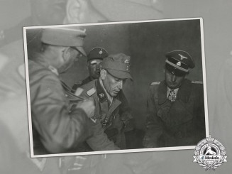 Germany. An Official SS Archive Photo Featuring Otto Kumm, Artur Phleps, and Carl von Oberkamp