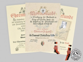 Germany, Federal Republic. Three Veteran Association's Award Certificates to DAK Leutnant Scharff