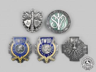 Poland, Republic. A Lot of Five Army Badges (Collectors Copies)