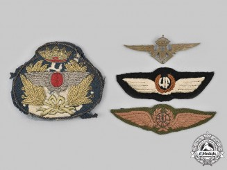 Belgium, Portugal, Spain, International. A Lot of Four Air Force Badges