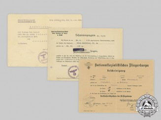 Germany, HJ/NSFK. Three Award Documents to Aviation HJ Member Nerreter