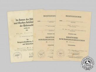 Germany, Wehrmacht. Three Award Documents to Driver Josef Kleber
