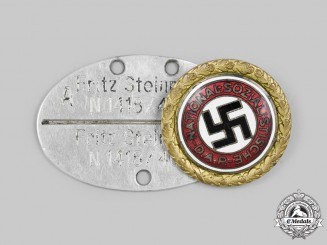 Germany, NSDAP. A Golden Party Badge, with Kriegsmarine ID Tag, by Deschler & Sohn