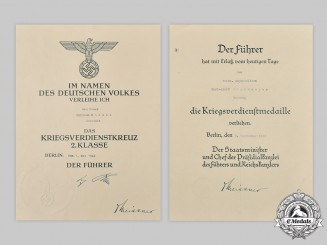 Germany, Wehrmacht. A Pair of War Merit Decoration Award Documents