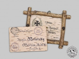 Germany, Imperial. A Field-Made Eastern Front Postcard with Trench Art Sign
