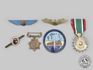 Austria, Pakistan, Saudi Arabia, International. A Lot of Six Medals and Badges