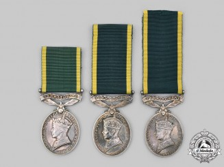 United Kingdom. A Lot of Three King George VI Efficiency Medals for Territorial Forces