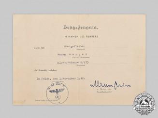 Germany, Wehrmacht. A Krim Shield Award Document to Obergefreiter Roman Manger