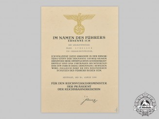 Germany, Third Reich. A Reichsbahn Promotion Document to Franz Scheller
