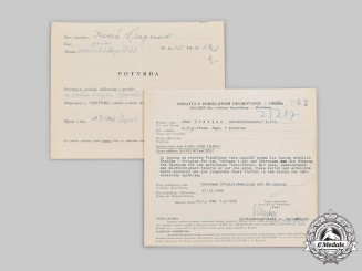 Croatia, Independent State. A Pair of Award Documents