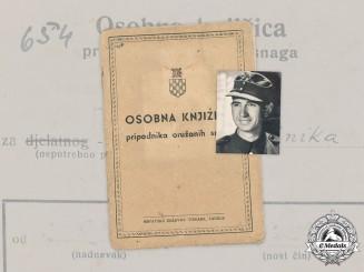 Croatia, Independent State. An Army Identity Booklet to Slavko Pintek