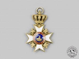 Mecklenburg-Schwerin. An Order of the Wendish Crown, Miniature Cross in Gold, c.1900
