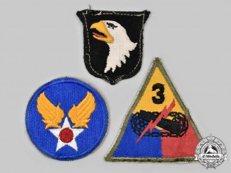 United States. A Lot of Three Embroidered Shoulder Sleeve Insignia, c.1944