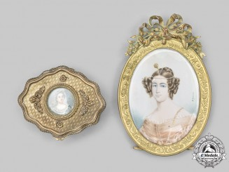 France, Republic. An Ornate Pin Box and Portrait Frame, c. 1915