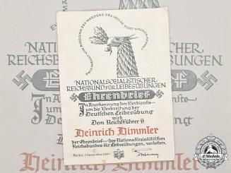 Germany, NSRL. An Ehrenbrief to Reichsführer-SS Heinrich Himmler