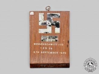 Germany, Luftwaffe. A Battle of Britain Downed Messerschmitt 110 Souvenir