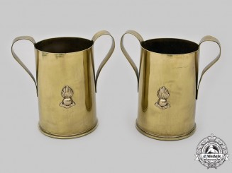 United Kingdom. A Pair of Trench Art Brass Shell Case Artillery Steins, c.1945