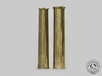 Hungary, Kingdom and Slovakia, I Republic. A Pair of Russian Front Trench Art Brass Shells